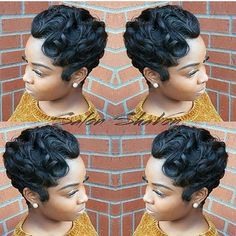 Popular Style Short Black Hairstyles Soft Waves - Looking for hairstyle short that are stylish without any effort? Finding easy hairstyle short that still Short Sassy Hair, Short Hair Cuts, Short Pixie, Pixie Cuts, Finger Waves Short Hair, Curly Hair Styles, Natural Hair Styles, Afro, Short Black Hairstyles