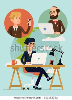 Vector modern flat design concept illustration on global connectivity and team working in business and industry with planet on background | Businessmen having video conference using mobile devices - stock vector