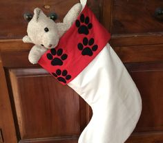 Doggy Paw Print Christmas Stockings, Quality Hand Made Padded and Lined, 45cm by AeviternalCreations on Etsy