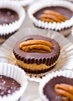 unwrapped-chocolate-protein-peanut-butter-cups Servings Per Recipe: 24 cups Amount Per Serving = 1 cup: Calories: 67.5 Total Fat: 4.7 g Total Carbs: 4.4 g Sugars: 0.1 g Dietary Fiber: 1.2 g Protein: 2.3 g  Nutritional Info (with PB2, no garnish) Calories: 55.4 Total Fat: 3.5 g Total Carbs: 4.3 g Sugars: 0.1 g Dietary Fiber: 1.1 g Protein: 2.1 g