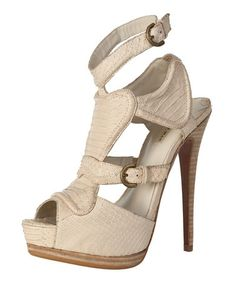 Look what I found on #zulily! Beige Bravo Snakeskin Leather Platform Sandal by Maxstudio.com #zulilyfinds