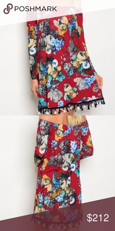 Off shoulder floral dress with tassel detail New no tags  Long sleeve off the shoulder tassel hem floral multi colored tunic dress. 97% COTTON 3% SPANDEX true to size for style HVHOUSEWIFE Dresses