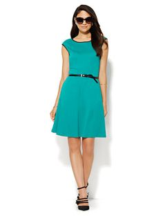 Shop Piped Cotton-Stretch Flare Dress. Find your perfect size online at the best price at New York & Company.