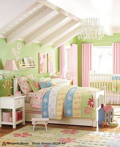 would love to paint brees walls green with pink curtains!