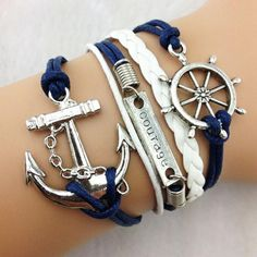 Navy & White Wheel, Anchor, Courage Bracelet | Six Shooter Gifts
