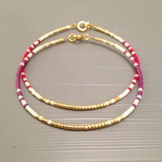 Tiny Red Bracelet , Beaded Friendship Bracelet ,Good Luck Bracelet This listing is for one beaded gold fill Bracelet. Bracelet is made of a Miyuki