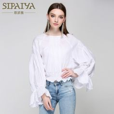 a1ca2acac76356 Runway Women s Blouses Loose Big Size Ruffles White Lace Designer Blouse  2017 Summer Female Full Lantern Sleeve Casual Tops New