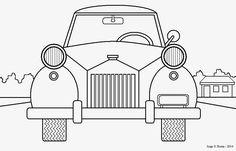 Arte no Paint: Desenho para colorir: carro antigo
