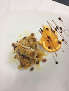 Sea bass whit raisins, pine nuts