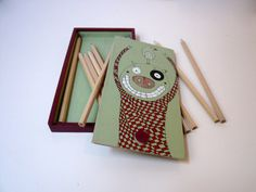 Hand Painted Pencil Box with 12 Colored Pencils by Desfigura