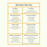 Recipes for beeswax furniture polish and hand cream
