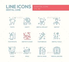 Dental Care - Line Design Icons Set