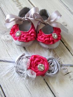 Baby Shoes -Hot Pink Gray Baby Shoes - Hot Pink Ruffle Baby Booties - Baby Crib Shoes - Baby Ballet Slippers - Booties - Fabric Baby Shoes.