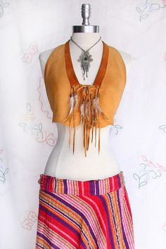 Boho Natural Leather Feather Beaded Fringed Halter Top from VINTAZIAVintage, $128.00