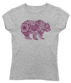 Women's Mandala Bear T-Shirt - Juniors Fit