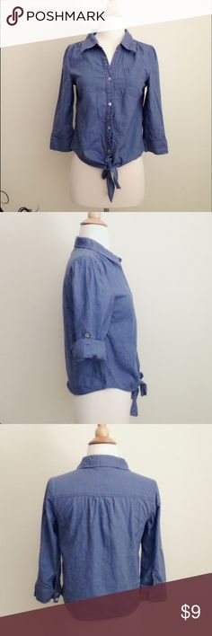 """Denim blue crop shirt A denim color shirt, 55% linen, 45% cotton, button-down with a knot in front. 3/4 sleeves (approx 17"""") could be rolled highly. One left chest pocket and Some wrinkles on both shoulders. Size S. ( length approx 19"""") bundle to save extra 25%! Tops Button Down Shirts"""