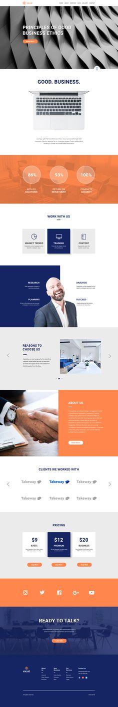 Value - Creative Corporate PSD Template by KubiStudio   ThemeForest
