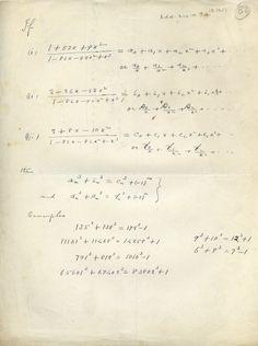 Η σελίδα από το σημειωματάριο του Ραμανουτζάν όπου ΄βρίσκονται οι αναπαραστάσεις του αριθμού 1729 ως άθροισμα κύβων.