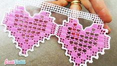 Çeyizlik Pembe Kalpler Havlu Kenarı Yapılışı Türkçe Videolu #moda #hobi #hobby #örgü #elişi #kadın #handmade
