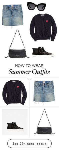 """""""Summer outfit #6"""" by elena-jamshidi on Polyvore featuring Mother, Comme des Garçons, Zara, Zadig & Voltaire, Karen Walker, Summer, black and beautifulhalo"""