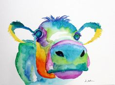 Watercolor cow painting, Beautiful Watercolor Animal Painting by Stephanie Estrin  http://picssound.blogspot.com/2014/09/beautiful-watercolor-animal-painting-by-Stephanie-Estrin.html