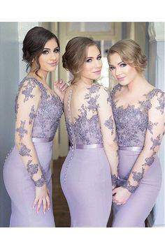 Cheap bridesmaid dresses, Buy Quality long bridesmaid dress directly from China wedding party dress Suppliers: Mermaid Long Bridesmaid Dresses 2017 Long Sleeves Beaded Lace Appliques Formal Wedding Party Dresses Sheer Neck Elegant New Top Lavender Bridesmaid Dresses, Bridesmaid Dresses With Sleeves, Mermaid Bridesmaid Dresses, Bridesmaid Dresses Plus Size, Lace Bridesmaids, Mermaid Dresses, Lace Mermaid, Mermaid Sweetheart, Maxi Dresses
