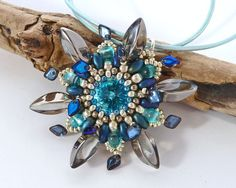 Turquoise & Silver Beaded Flower Pendant  by BeauBellaJewellery #chrismasgifts