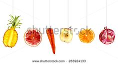 mix of fruits for fresh juices: pineapple, grapefruit, carrot, apple, orange, pomegranate. Hand-painted watercolor - stock photo