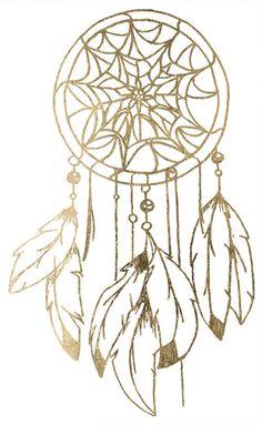 Gold dreamcatcher tattoo on Etsy, Golden Feather Tattoos   #temporary #tattoo #summer #tattoos