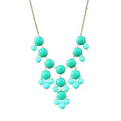 "Wild Butterfly Boutique | ""Curvy"" - J Crew Inspired Bib Bubble Statement Necklace - Aqua Turquoise"