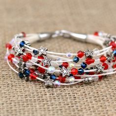 Make this sweet patriotic beaded bracelet using waxed linen cord and small beads.