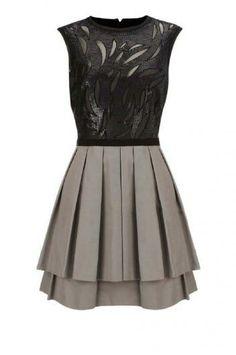 Black and Grey Embellished Dress