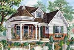 One Level Victorian Home Plan Only wide, this one level Victorian cottage home plan has room for three bedrooms and a covered front porch.Only wide, this one level Victorian cottage home plan has room for three bedrooms and a covered front porch. House Plans One Story, Story House, Small House Plans, Cottage House Plans, Cottage Homes, Cottage Style, Cottage Porch, Cottage Living, Farm House