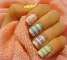 Pastel Candy Striped Nail Art