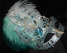 Bronze Gold and Teal Capri Masquerade Mask by TheCraftyChemist07