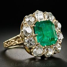 Vintage 3.85 Carat Emerald and Diamond Ring - 30-1-5397 - Lang Antiques