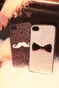 mustache iphone cases, bow iphone 4s case, iphone 4 case,  iphonecase, iphone 5 cover,iphone 5 case,handmade
