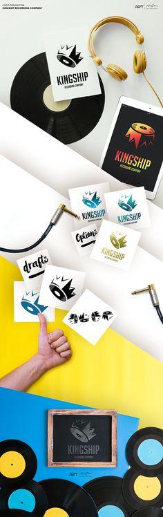 Logo Design For a Recording Company Kingship. VINYL + CROWN