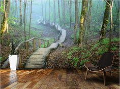 Gnstige Kundenspezifische Natrliche Tapete Nebel Wald Treppenhaus 3D Moderne Fr Wohnzimmer Schlafzimmer Restaurant