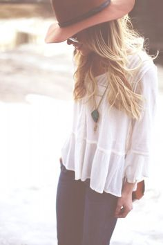perfect, classic outfit...white tee shirt, dark jeans, and a tan hat with some turquoise