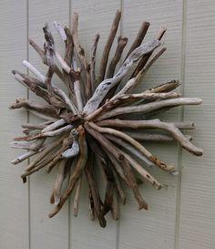 Driftwood Decor Wall Hanging Sunburst by BurlgirlCreations on Etsy
