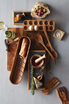 Küchenaccessories aus Olivenholz - Schneidebretter, Schüssel und Löffel