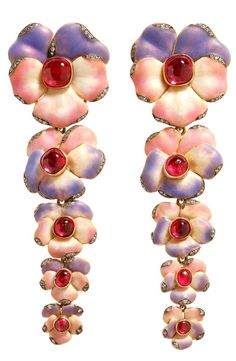 Gold, Diamond and Ruby Floral Drop Earrings LYDIA COURTEILLE