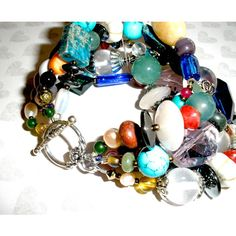 7.75 Inch CHUNKY BEADED BRACELET, Multi Strand Colorful Beaded... (€36) ❤ liked on Polyvore featuring jewelry, gem jewelry, chunky jewelry, glass jewelry, chunky silver bangles and pearl bangles