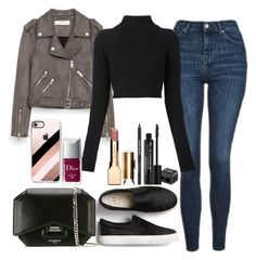 """""""Untitled#1563"""" by mihai-theodora ❤ liked on Polyvore featuring Topshop, Jakke, Balmain, Givenchy, Casetify, Clarins, Christian Dior and Rodial"""