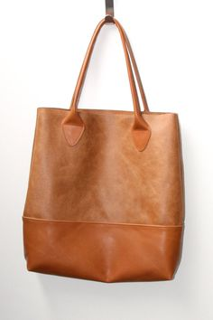 Brown leather tote bag strong leather bag made of by VankDesign