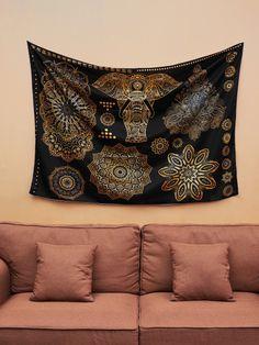 Popular Handicrafts Kp827 Queen Large Moon Ombre Gold Tapestry