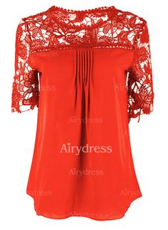 Blouses - $15.31 - Solid Casual Chiffon Round Neckline Short Sleeve Blouses (1645231392)