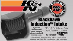 Get a K&N Blackhawk Induction Intake starting from $467.99 EA until June 30, http://2016.Systems available for many gas and diesel trucks & muscle cars. 11-'16 Ford Super Duty F250-550 6.7L Diesel #71-2582 $467.99 https://aadiscountauto.ca/special/576/k-n-blackhawk-induction-intake.html #KNBlackhawk #InductionIntake #KN #Bl…