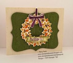 Stampin' Up! Fall card featuring the Wondrous Wreath stamp set bundle, Hardwood stamp, and For All Things stamp set.  #topnotedie,  #wondrouswreath  Details and a supply list, with links to purchase your own supplies, are available on my blog here: http://stampininthesand.blogspot.com/2014/09/wondrous-fall-wreath.html  Thanks for stopping by, Mary